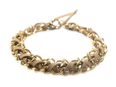 jewelry for dogs beige suede gold chain