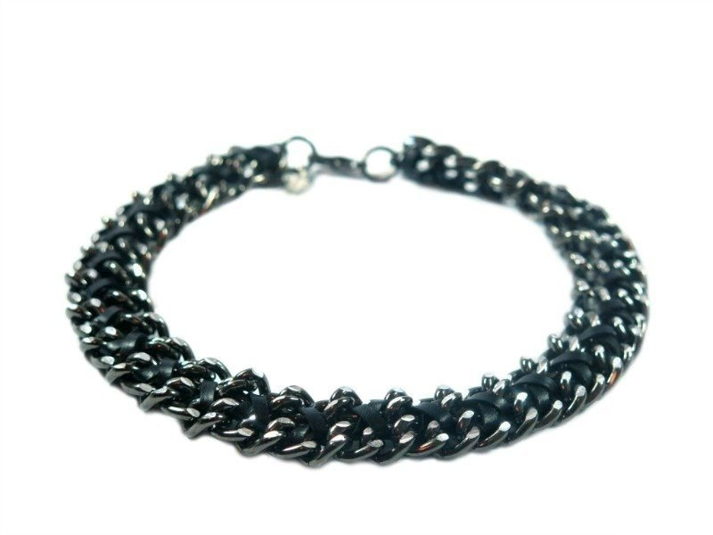 dog jewelry black chain necklace collar