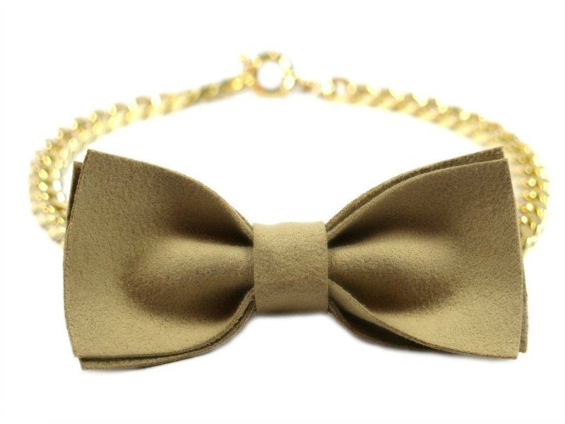bow tie dog gold chain necklace