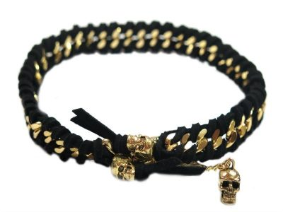 black gold dog jewelry skull