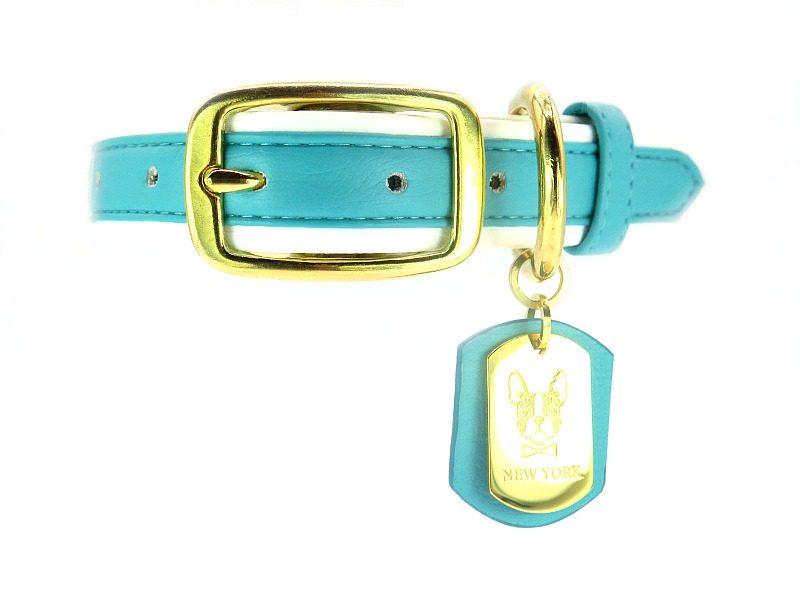 Blue Leather French Bulldog collar
