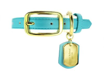 vegan leather dog collar blue turquoise