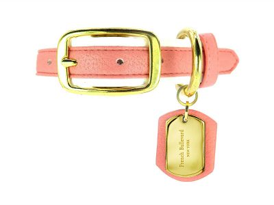 pink leather collar vegan dog french bulldog