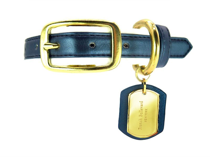 navy blue dog collar vegan leather