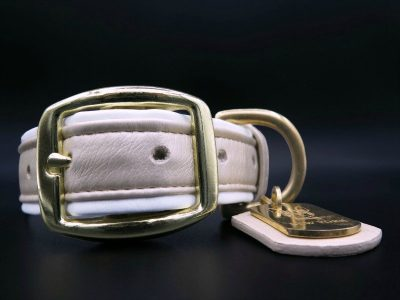 dog collar leather gold