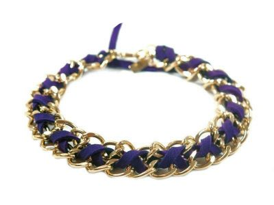 dog jewelry chic purple gold chain