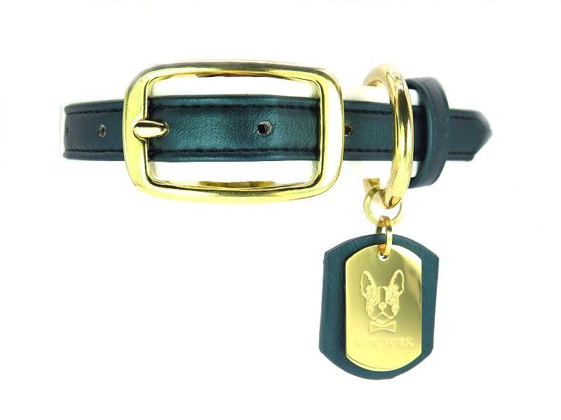 Green Leather French Bulldog collar