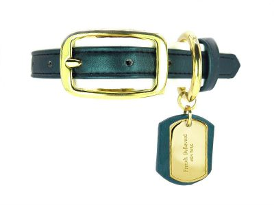 green luxury leather dog collar