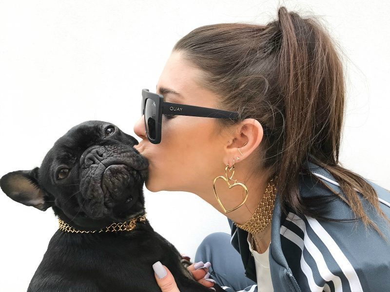 gold necklace brindle french bulldog Matching dog necklace woman kissing