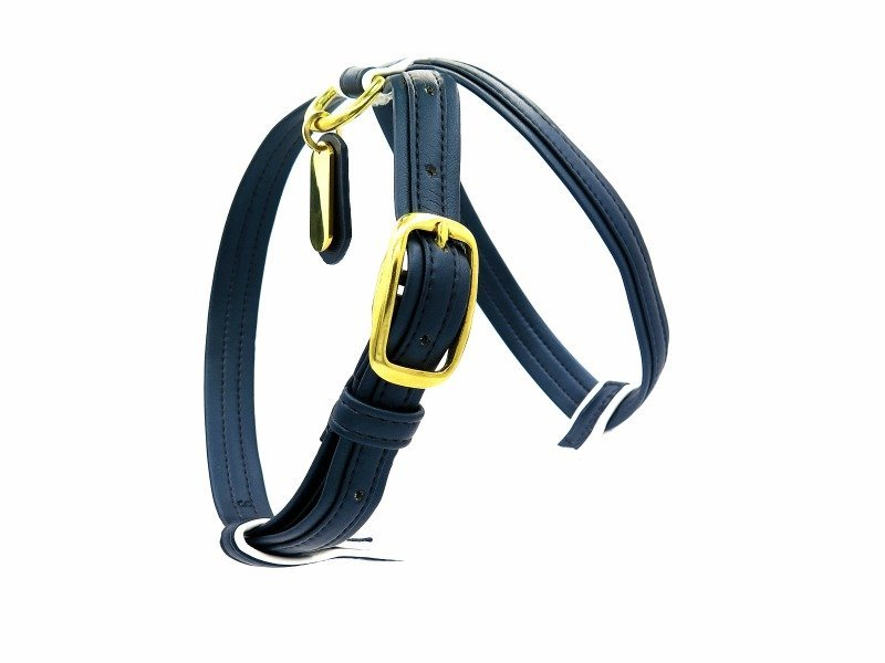 navy blue french bulldog harness