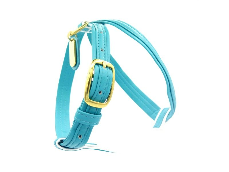 light blue french bulldog harness