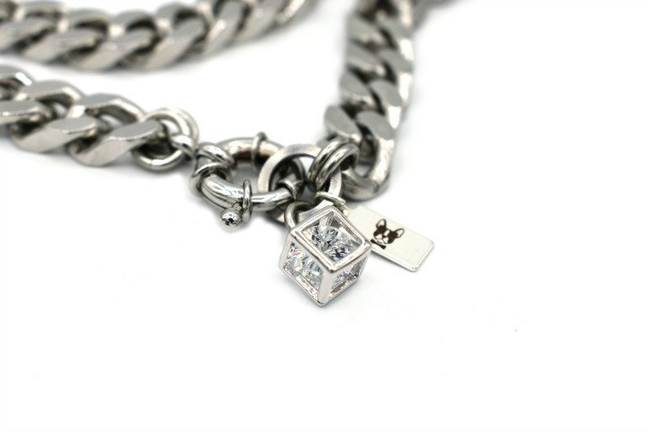 cube pendant french bulldog chain