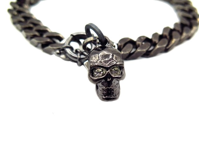 skull black chain dog
